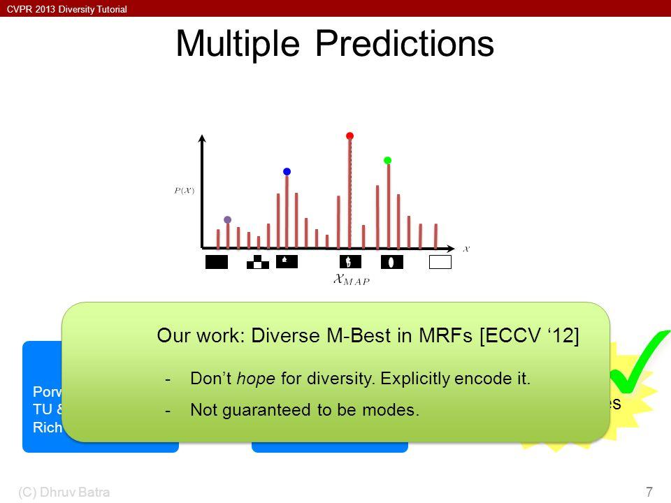 ✓ Multiple Predictions Our work: Diverse M-Best in MRFs [ECCV '12]